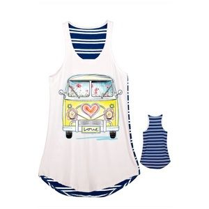 Summer Love Navy Blue Striped Tank Top NWT SML